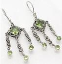 Painful Pleasures BAER002-pair Light Green Triple Dangle Jewels Sterling Silver Bali Earrings