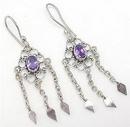 Painful Pleasures BAER007-pair Purple Chandelier Diamond Shape Dangle Sterling Silver Bali Earrings