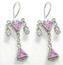 Painful Pleasures BAER013-pair Trinity Pink Jewel Dangle Sterling Silver Bali Earrings