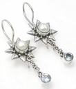 Painful Pleasures BAER046-pair Pearl Sunflower Indonesian Style French Hook Earrings