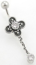 "Painful Pleasures BAN015 14g 3/8"" Flower Bali Sterling Silver Belly Button Ring"