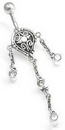 """Painful Pleasures BAN019 14g 3/8"""" Bali Crest Dangle Belly Button Ring"""