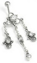 """Painful Pleasures BAN021 14g 3/8"""" Bali Clover Steriling Silver Belly Button Ring"""