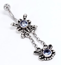 """Painful Pleasures BAN033 Star Burst 14g 7/16"""" Bali Style Wholesale Belly Button Rings"""