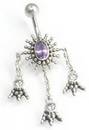 "Painful Pleasures BAN040 14g 3/8"" Biddy Feet Bali Sterling Silver Belly Button Ring"