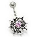 "Painful Pleasures BAN045 14g 7/16"" Mystical Bali Star Wholesale Body Piercing Navel Rings"