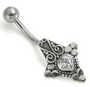"""Painful Pleasures BAN052 14g 7/16"""" Bali Heart Sterling Silver Navel Belly Jewelry"""