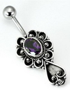 """Painful Pleasures BAN068 14g 7/16"""" Bali SPADE Sterling Silver Navel Belly Jewelry"""