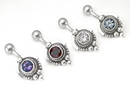"""Painful Pleasures BAN077 14g 7/16"""" Silver Hat Indonesian Wholesale Belly Rings"""