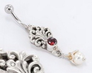 """Painful Pleasures BAN086 14g 7/16"""" Gold Plated with Synthetic Pearl Waluyo Belly Button Ring"""