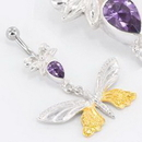 """Painful Pleasures BAN088 14g 7/16"""" Butterfly Gold Plated Belly Button Ring"""