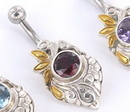 """Painful Pleasures BAN090 14g 7/16"""" Gold Plated Merpati Indonesian Belly Button Ring"""