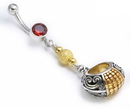 "Painful Pleasures BAN095 14g 7/16"" Dangle Gold N' Silver Bali Belly Button Ring"