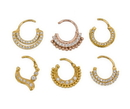 Painful Pleasures BAN109 16g Septum Clicker - Jeweled Rose Gold Plated Crescent Ring