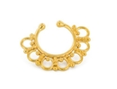 Painful Pleasures BAN121 Gold Plated, Sterling Silver Detailed Septum Ring or Earring - Clip On