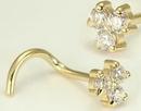 Painful Pleasures Custom-018-NS017-BG 20g - 16g 14kt Yellow Gold 3 Jewel Cluster Nostril Jewelry - Custom Made - Price Per 1
