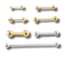 Painful Pleasures Custom-064-BG 18g or 16g 14kt Yellow or White Gold Straight Barbell - Custom Made - Price Per 1