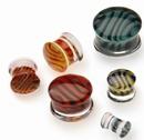 Gorilla Glass Custom-077-TGP-D-GG Tiger Stripe Double Flare Borosilicate Glass Plug - Custom Made - Price Per 1
