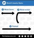 Painful Pleasures Custom-238-OpalNoseScrew-le 20g or 18g OPAL Flat Bezel Set Nose Screw, Bone or Fishtail (CUSTOM MADE)