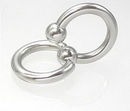 Painful Pleasures Custom-796-PP 12g Stainless Steel Circular Barbell with Slave Doorknocker Ring - Custom Made - Price Per 1