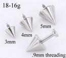 Painful Pleasures derm142 18g - 16g Internally Threaded Steel Spike Top - Price Per 1