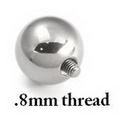 Painful Pleasures derm185-187 16g Internal 0.8mm Threading Steel Ball - Price Per 1