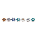 Painful Pleasures derm320-anod 14g-12g Internally Threaded Titanium Jewel Flower Top with Crystal Petals - Choose Center Jewel Color - Price Per 1