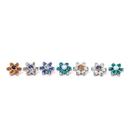 Painful Pleasures derm321-anod 14g-12g Internally Threaded Titanium Jewel Flower Top with Crystal Center - Choose Petal Jewel Color - Price Per 1