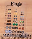 Painful Pleasures DIS-087 PLUG DISPLAY Acrylic Stand EMPTY - Holds 54 Plugs 10g - 1/2""