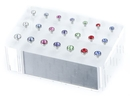 Painful Pleasures DIS-091 14g Internal Acrylic Display Solid Block with 21 Posts