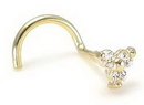 Painful Pleasures GNS004-screw 14kt Yellow Gold Trinity Nose SCREW 20g