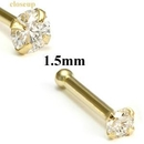 Painful Pleasures GNS008 14KT YELLOW GOLD 1.5MM CZ JEWEL NOSE BONE 20g