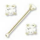 Painful Pleasures GNS012 20g - 1.5mm Real Diamond 14kt Yellow Gold Nose Bone