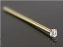 Painful Pleasures GNS020 20g 14kt Yellow Gold Nose Fishtail with 1.5mm Crystal Jewel