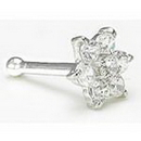 Painful Pleasures GNS022 14kt White Gold Flower NOSE BONE 20g
