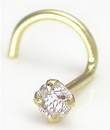 Painful Pleasures GNS034 14kt Yellow Gold 2.5mm CZ JEWEL Nose Screw 20g