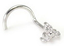 Painful Pleasures GNS057-screw-18g 14kt White Gold Trinity Nose SCREW 18g