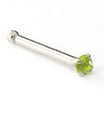 Painful Pleasures GNS068-bone-20g 20g 14kt White Gold 1.5mm CZ-Peridot Jewel Nose Bone