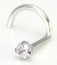 Painful Pleasures GNS112-screw-18g-2mm 18g 14kt White GOLD 2.0mm CZ Nose Screw