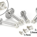 Painful Pleasures GNS130-white-cz 18g-16g Internally Threaded Replacement WHITE GOLD PRONG CZ - Price Per 1