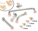 Painful Pleasures GNS134-yellow-pink 14kt Yellow Gold Internally 1.2mm Threaded PINK Prong Set Stones - 4 Sizes - Price Per 1