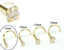 Painful Pleasures GNS138 14kt Yellow Gold 1.5mm (SI) DIAMOND Jewel Nose Screw 20g