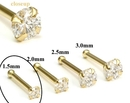 Painful Pleasures GNS140 14kt Yellow Gold 1.5mm (SI) DIAMOND Jewel Nose Bone 20g