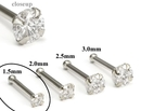 Painful Pleasures GNS141 14kt White Gold 1.5mm (SI) DIAMOND Jewel Nose Bone 20g