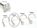 Painful Pleasures GNS143 14kt White Gold 2.0mm (SI) DIAMOND Jewel Nose Screw 20g