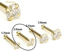 Painful Pleasures GNS144 14kt Yellow Gold 2.0mm (SI) DIAMOND Jewel Nose Bone 20g
