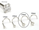 Painful Pleasures GNS147 14kt White Gold 2.5mm (SI) DIAMOND Jewel Nose Screw 20g