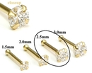 Painful Pleasures GNS148 14kt Yellow Gold 2.5mm (SI) DIAMOND Jewel Nose Bone 20g