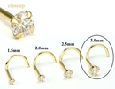 Painful Pleasures GNS150 14kt Yellow Gold 3.0mm (SI) DIAMOND Jewel Nose Screw 20g