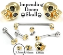 Painful Pleasures GNS156 14kt Yellow Gold Internally 1.2mm(14g) Threaded 3.5mm SKULL with BLACK Gem Eyes - Price Per 1